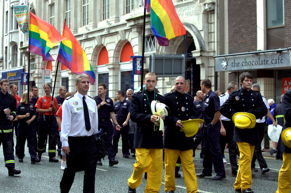 Firefighters taking part in Manchester Pride